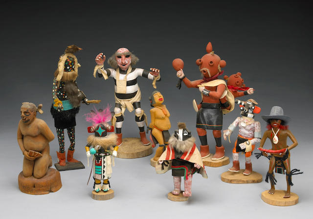 Nine Navajo or Hopi dolls