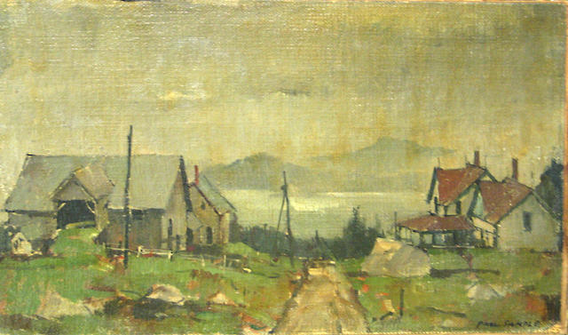 Paul Sample (American, 1896-1974) Fishing village on Lake Willoughby 8 x 13 1/2in