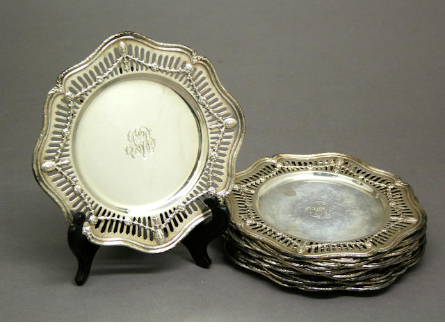 Sterling Set Twelve Marie Louise Bread & Butter Plates by Shreve & Co.