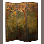 A Spanish painted three fold floor screen