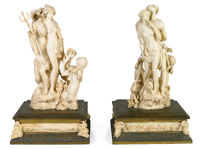 A pair of Continental carved ivory mythological groups  late 19th century