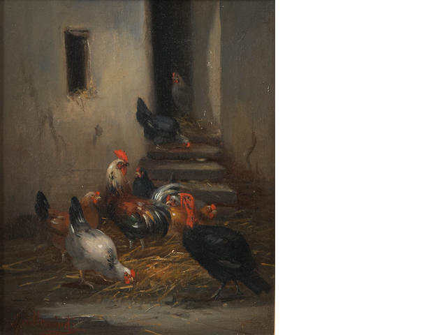 Claude Guilleminet (French, 1821-1860) Roosters and a turkey in a farmyard  12 x 10in