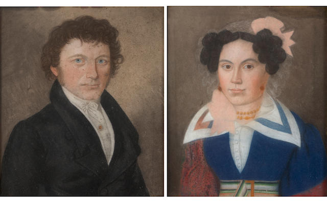 German School Portraits of a lady and a gentleman, half-length (a pair) both 14 1/2 x 12 1/4in