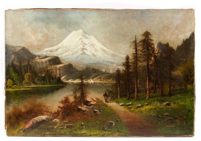 John Englehart (American, 1867-1915) Indian in a mountainous Western landscape unframed: 20 x 30in