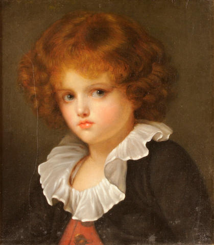 After Jean-Baptiste Greuze Boy in red waistcoat 16 x 14in
