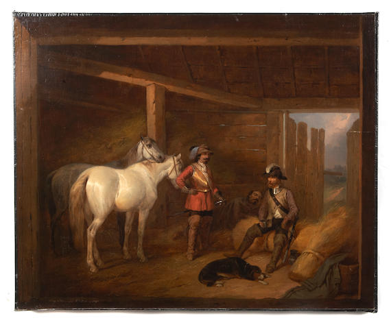 Josef Brodowski the Younger (POLISH, 1828-1900) Soldiers and horses in a stable 24 3/4 x 29 1/2in unframed