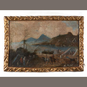 Italian School, 18th Century An extensive coastal landscape with many figures in the foreground