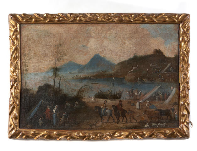 Italian School, 18th Century An extensive coastal landscape with numerous figures in the foreground 14 1/2 x 22in