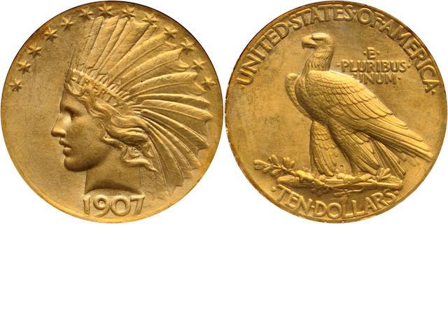 1907 $10 Wire Rim MS64 NGC