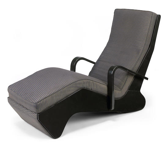 A Marcel Breuer upholstered ebonized wood chaise longue similar to a circa 1936 design for Isokon
