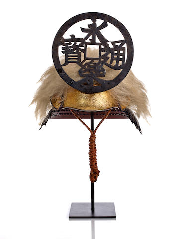A kawari kabuto with long animal hair and large maedate
