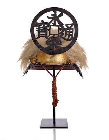 A kawari kabuto with long animal hair and large maedate