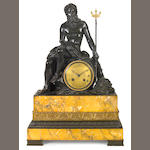 A French patinated bronze and marble figural mantel clock 'Neptune'