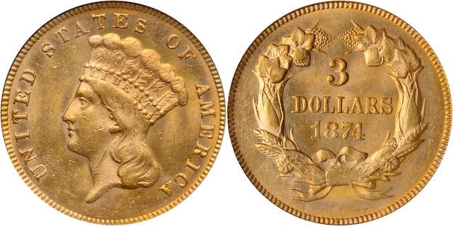 1874 $3 MS63 PCGS