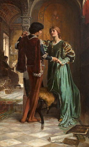 George Percy R. E. Jacomb-Hood (British, 1857-1929) The betrothal 40 x 25 1/2in (102 x 65cm)