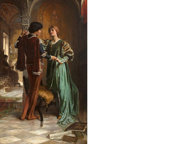 George Percy R. E. Jacomb-Hood (British, 1857-1937) The Betrothal 40 x 24 3/4in (101.6 x 62.8cm)