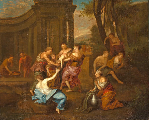 Continental School Finding Moses 265/8 x 33in (67.5 x 83.8cm)