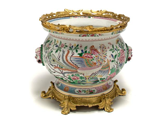 A Louis XV style gilt-bronze-mounted porcelain jardiniere the porcelain Samson, late 19th/early 20th century