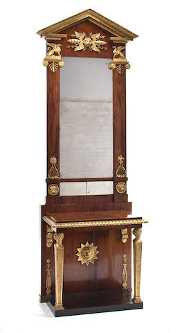 A Swedish Neoclassical parcel-gilt mahogany pier mirror and console<br>Labeled PG Bylander, circa 1820