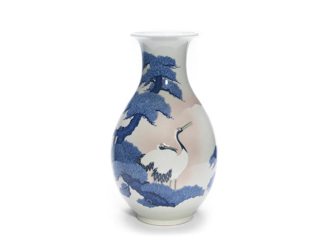 A large studio ware porcelain ovoid vase By Seifu Yohei III(1851-1914)