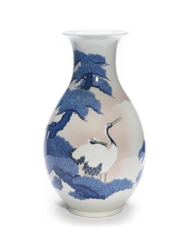 A large studio ware porcelain ovoid vase By Seifu Yohei III (1851-1914)