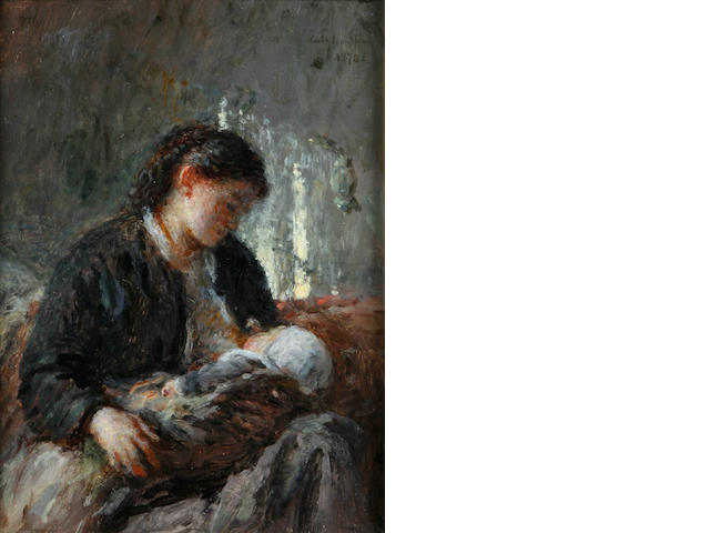 Adolphe Félix Cals (French, 1810-1880) A mother and child 8 1/2 x 6 1/4in