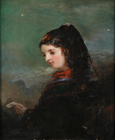 (n/a) English School, 19th Century A portrait of a lady in a black shawl; also a portrait by a different hand first 10 x 8in; second 11 1/2 x 9in