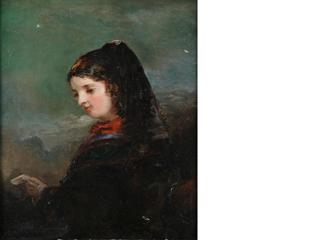 English School, 19th Century A portrait of a lady in a black shawl; also a portrait by a different hand first 10 x 8in; second 11 1/2 x 9in
