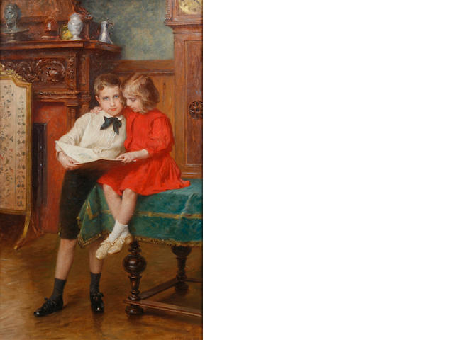Carl Fröschl (Austrian, 1848-1934) The siblings  45 x 26 3/4in