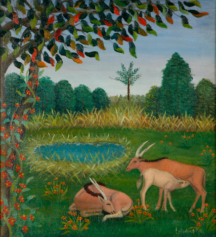Lawrence Lebduska (American, 1894-1966) The Garden of Eden (Wildlife) 22 x 20in