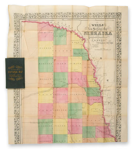 WELLS, JOHN G. Wells' New Sectional Map of Nebraska from the Last Government Surveys. New York: J.G. Wells, 1857.
