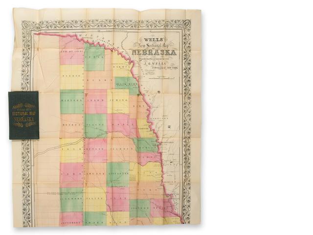 WELL Well's New Sectional Map of Nebraska. 1857 New York.