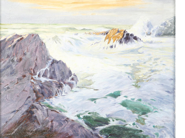 School of Jack Wilkinson Smith (American, 1873-1949) Waves Crashing on a Rocky Shoreline 16 x 20in