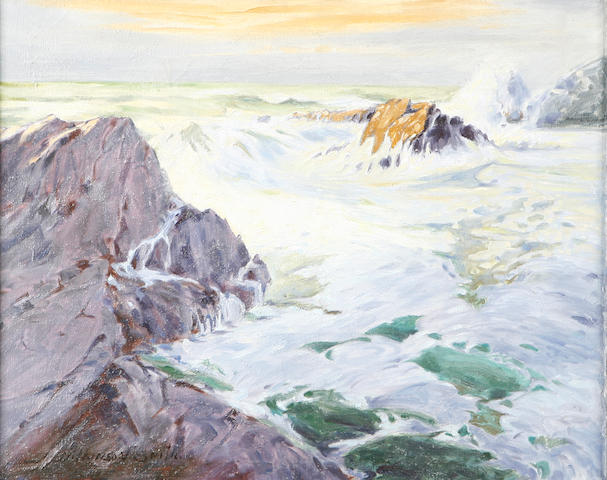 School of Jack Wilkinson Smith (American, 1873-1949) Waves Crashing on a Rocky Shoreline 16 x 20in