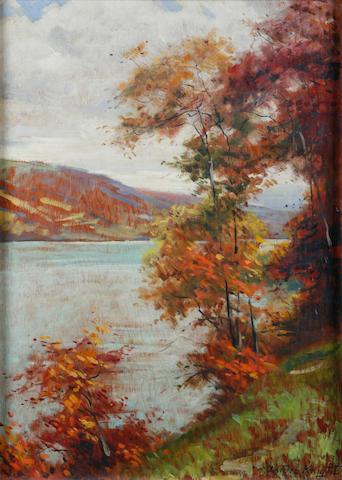 Louis Aston Knight (American, 1873-1948) A river scene 38 x 24in