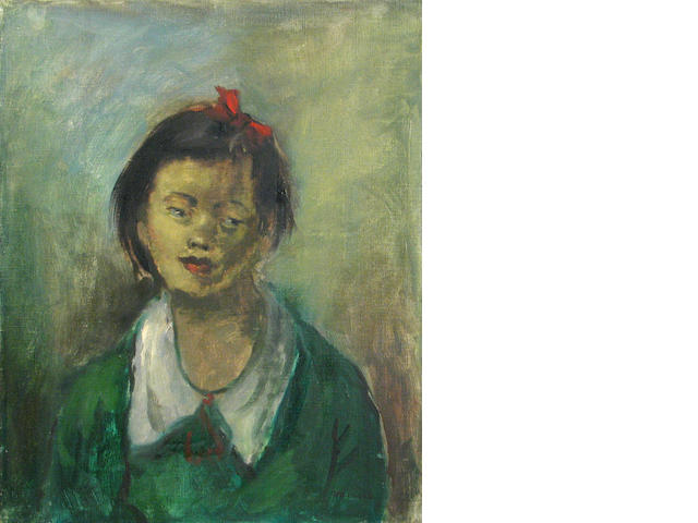 George Chann (Chinese/American, 1913-1995) Portrait of a young girl in a green sweater 20 x 16in