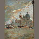 Pierangelo Basorini (Italian, 1905-1973) A view of Santa Maria della Salute from the Piazzetta di San Marco 26 1/4 x 20 3/4in