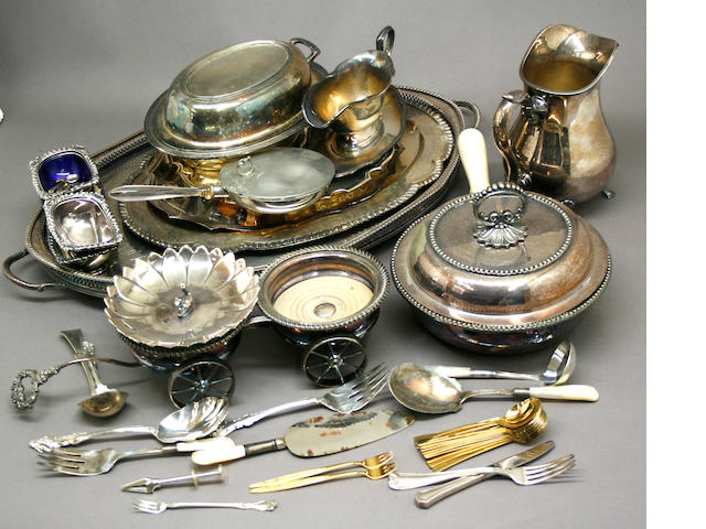 Group of Plated Table Articles and Flatware