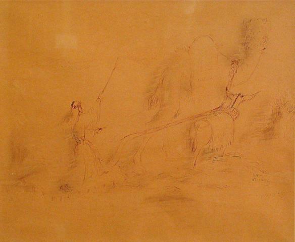 Reuven Rubin (Israeli, 1893-1974) Arab threshing wheat, 1937 18 x 24in