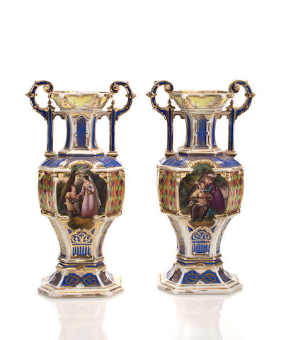 A pair of French Gothic Revival porcelain two handled vases mid 19th century