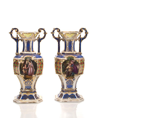 A pair of Paris porcelain urns<br>Circa 1900