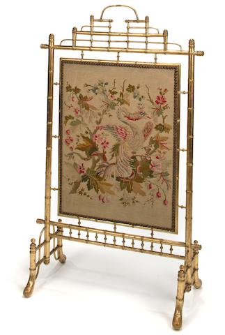 A French giltwood faux bamboo firescreen