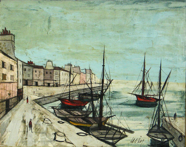 Charles Levier (French, 1920-2004) Ships at harbor 23 3/4 x 30in
