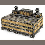 An Anglo Indian quillwork ivory inlaid ebony lap desk <br>probably Galle District<br>mid 19th century