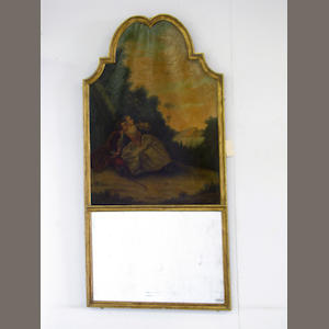 A Louis XVI style paint decorated and gilt wood trumeau mirror. late 19th century