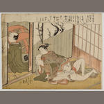 Attributed to Suzuki Harunobu (1725?-1770) Two lovers in an interior