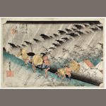 Utagawa Hiroshige (1797-1858) Shono haku-u (Driving rain at Shono), from the series Tokaido gojusan tsugi no uchi (The fifty-three stations of the Tokaido)