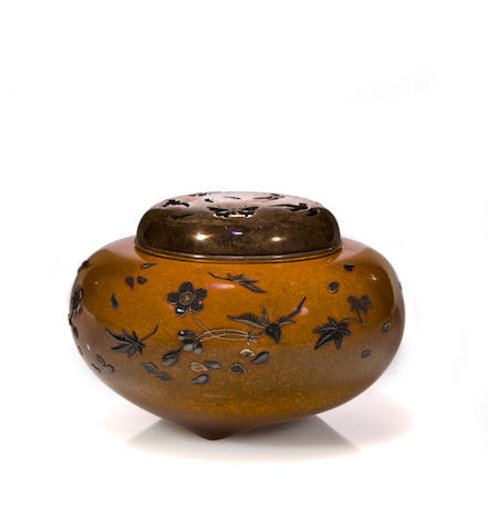 A bronze and mixed metal incense burner By Toshiaki, early 20th century