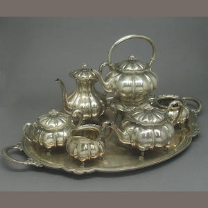 Sterling Six Piece Tea and Coffee Set with Matching Tray by Shreve & Co.
