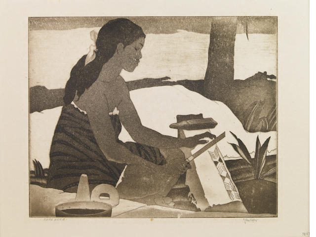 "A John Kelly dry point etching ""Kapa Hana"""